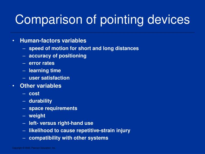 Comparison of pointing devices
