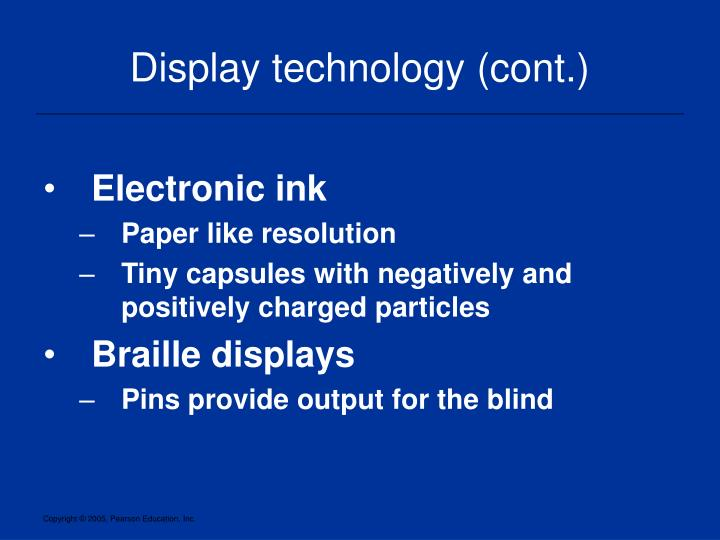 Display technology (cont.)
