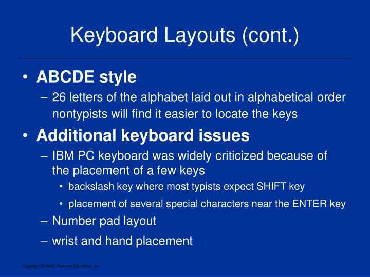 Keyboard layouts cont