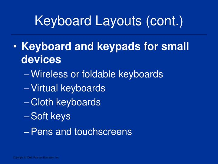 Keyboard Layouts (cont.)