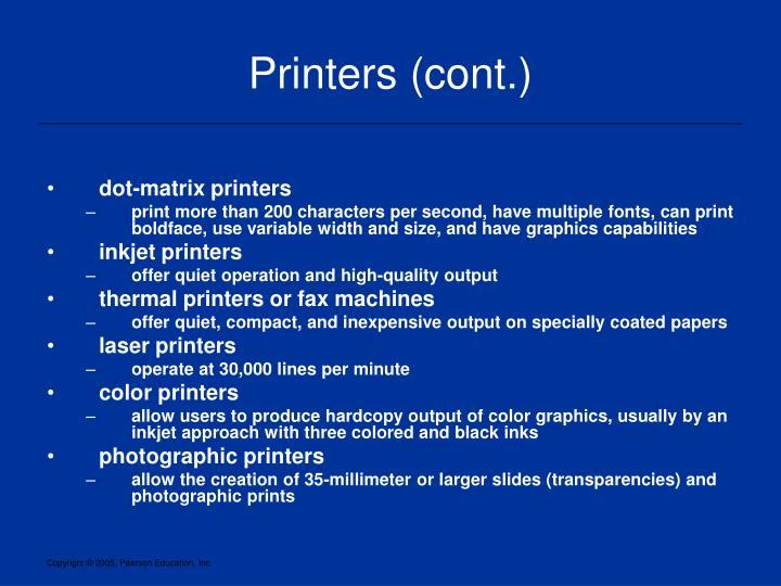 Printers (cont.)