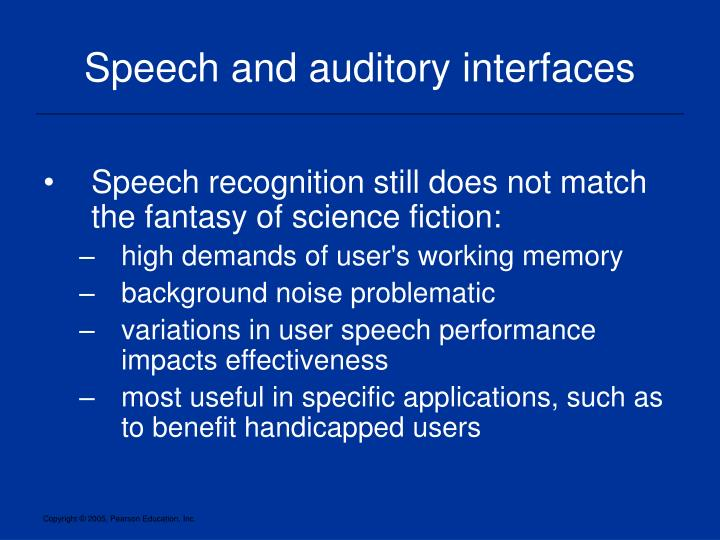 Speech and auditory interfaces