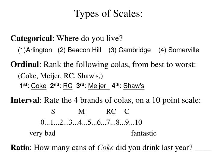 Types of Scales: