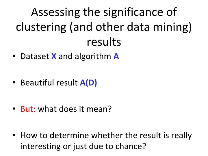 Assessing the significance of clustering (and other data mining) results