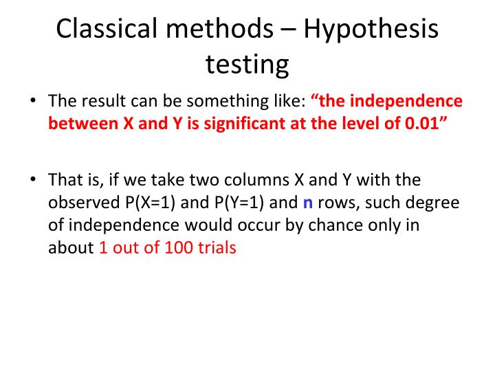 Classical methods – Hypothesis testing