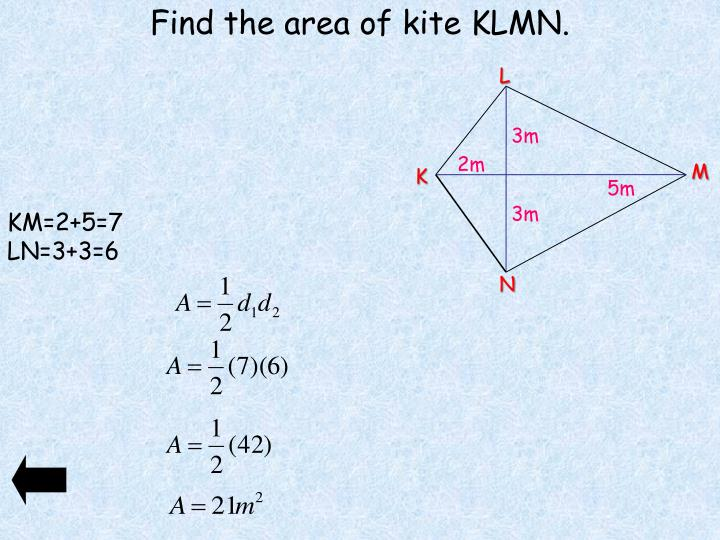 Find the area of kite KLMN.