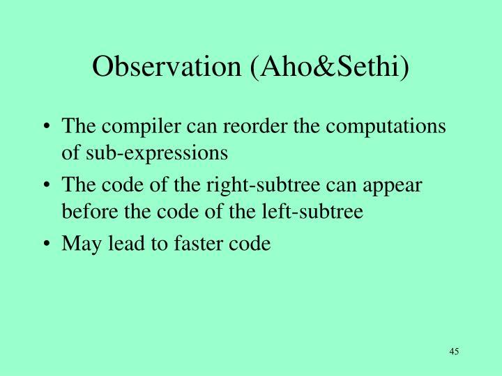 Observation (Aho&Sethi)