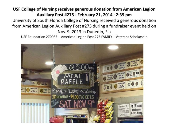 USF College of Nursing receives generous donation from American Legion Auxiliary Post #275 - February 21, 2014 · 2:39 pm