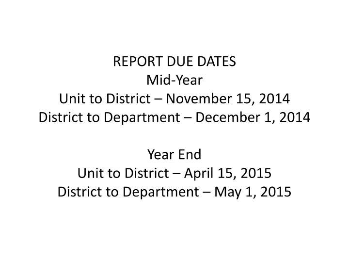 REPORT DUE DATES