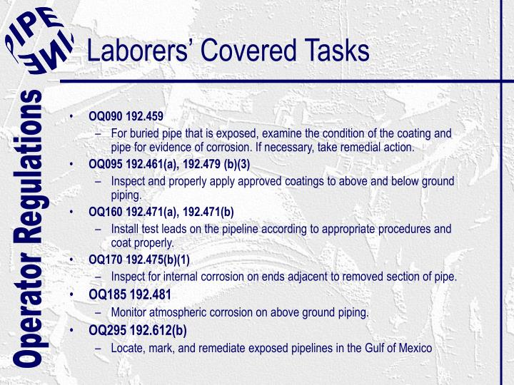 Laborers' Covered Tasks