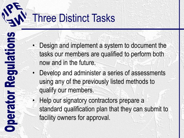 Three Distinct Tasks