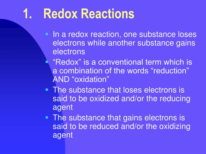 1.	Redox Reactions