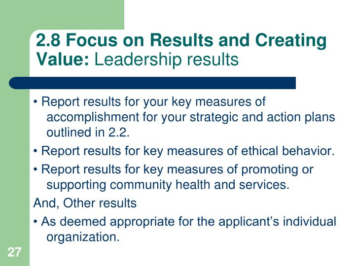 2.8 Focus on Results and Creating Value: