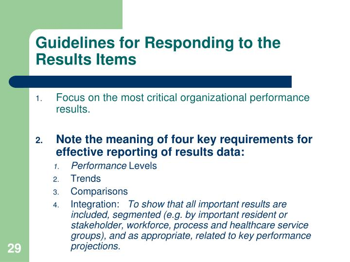 Guidelines for Responding to the Results Items