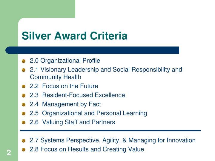 Silver Award Criteria