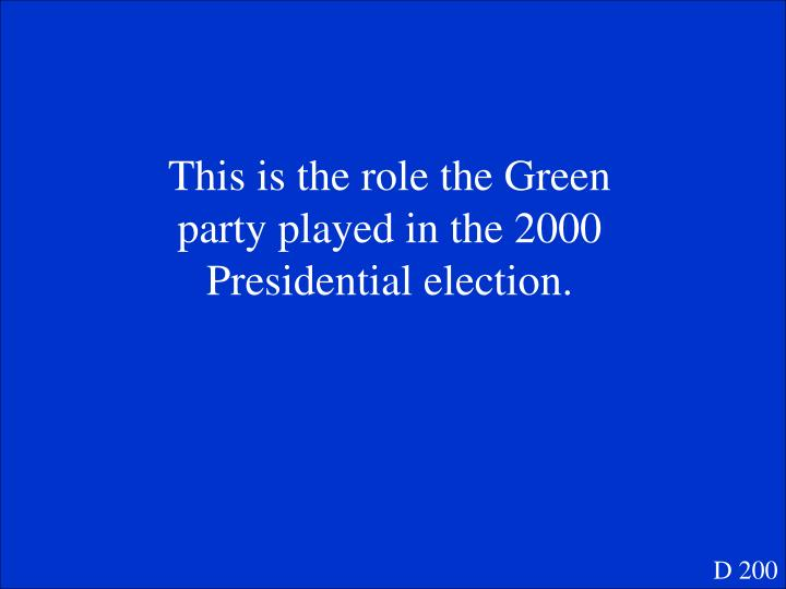 This is the role the Green party played in the 2000 Presidential election.