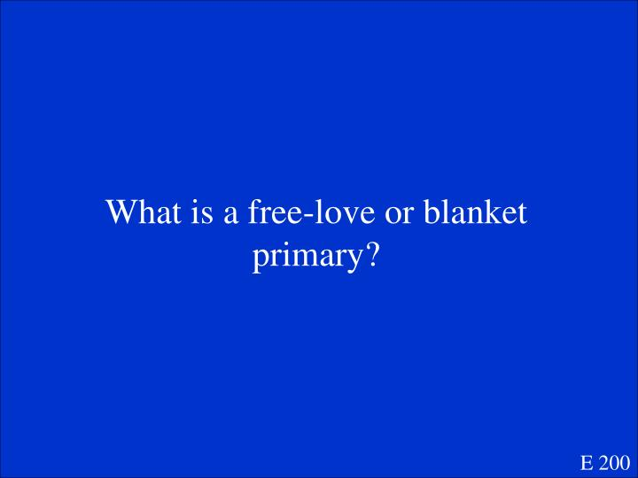 What is a free-love or blanket primary?