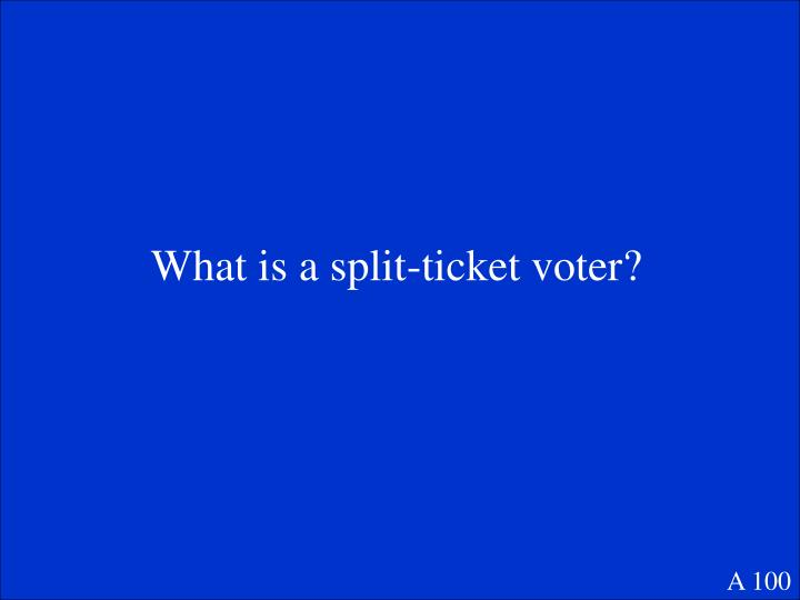 What is a split-ticket voter?