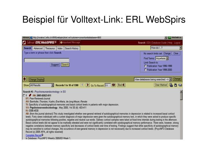Beispiel für Volltext-Link: ERL WebSpirs