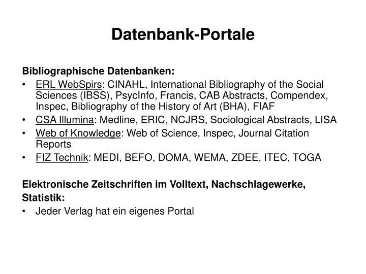 Datenbank-Portale