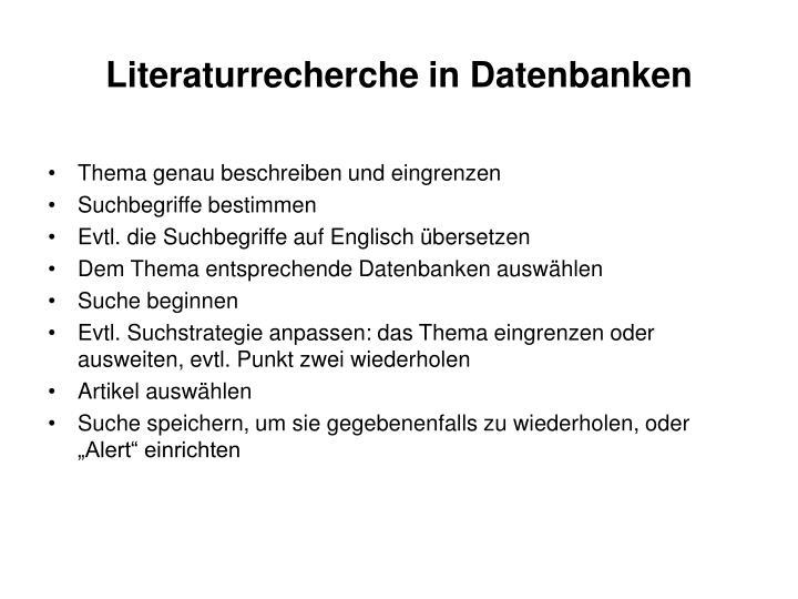 Literaturrecherche in Datenbanken