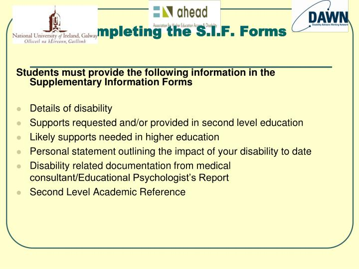 Completing the S.I.F. Forms