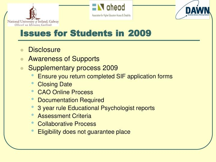 Issues for Students in 2009