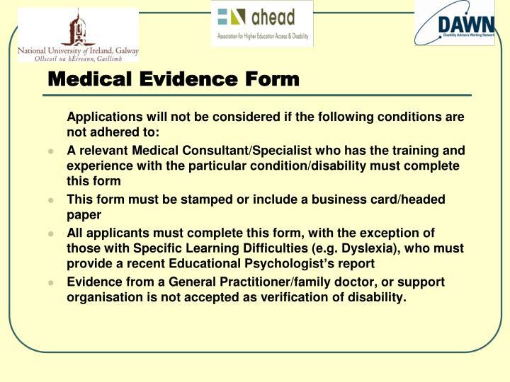Medical Evidence Form