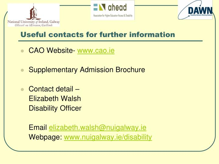 Useful contacts for further information