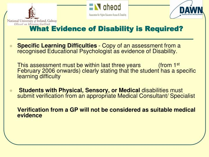 What Evidence of Disability is Required?