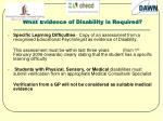what evidence of disability is required