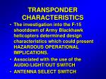 transponder characteristics