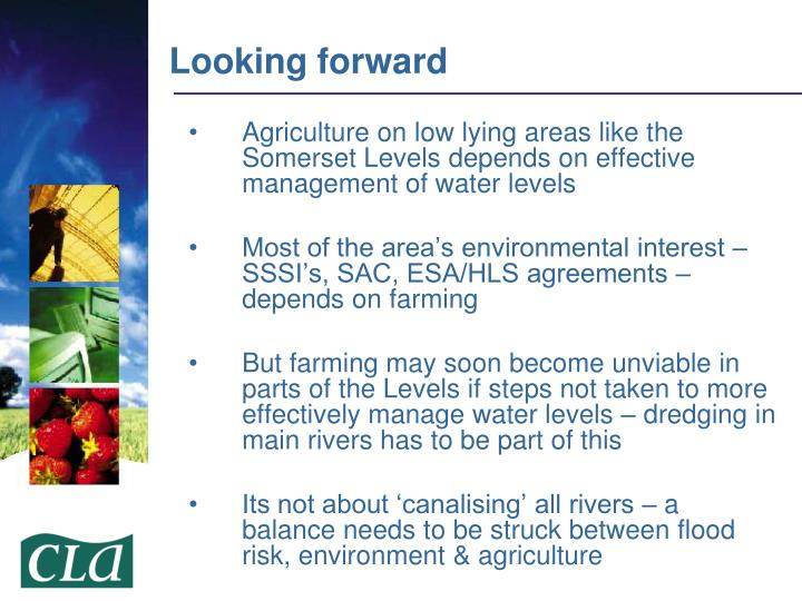 Agriculture on low lying areas like the Somerset Levels depends on effective management of water levels
