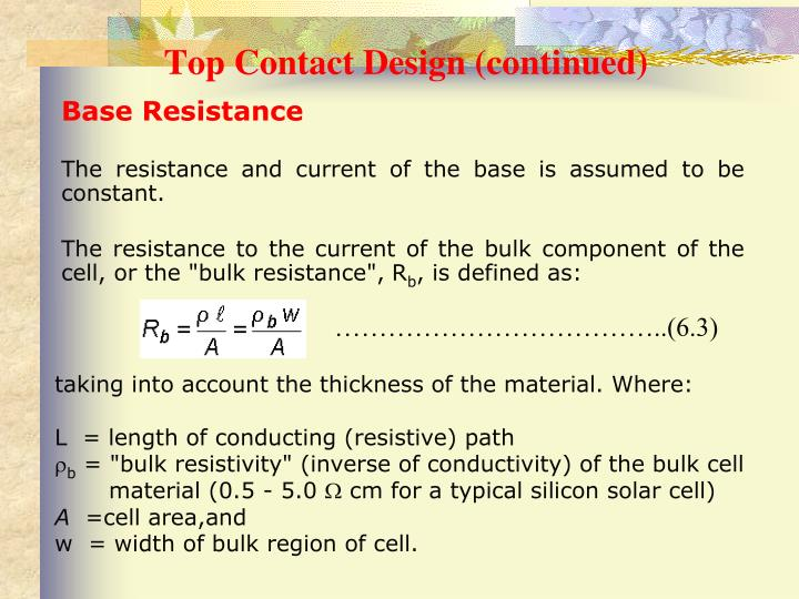 Top Contact Design (continued)
