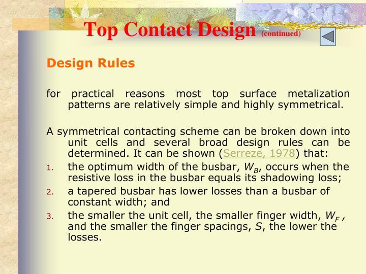 Top Contact Design