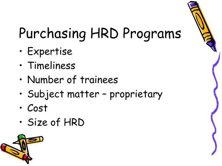 Purchasing HRD Programs