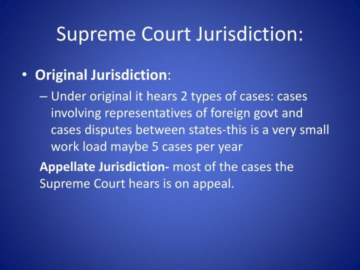 Supreme Court Jurisdiction: