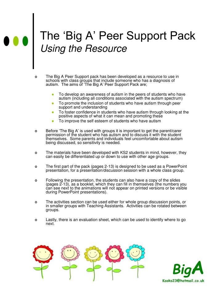the big a peer support pack using the resource