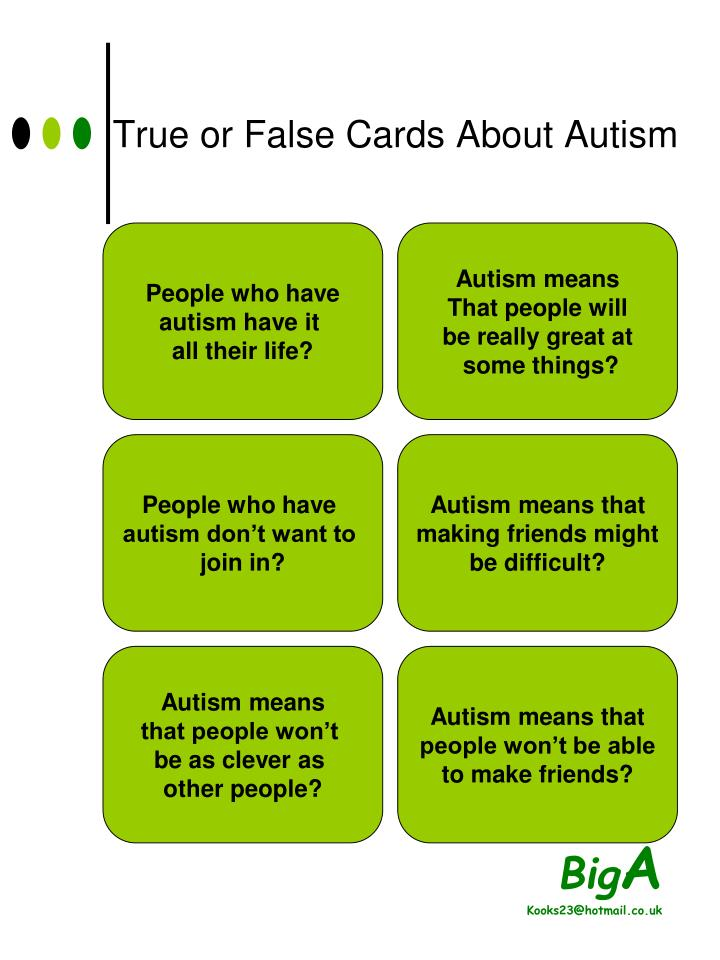 True or False Cards About Autism