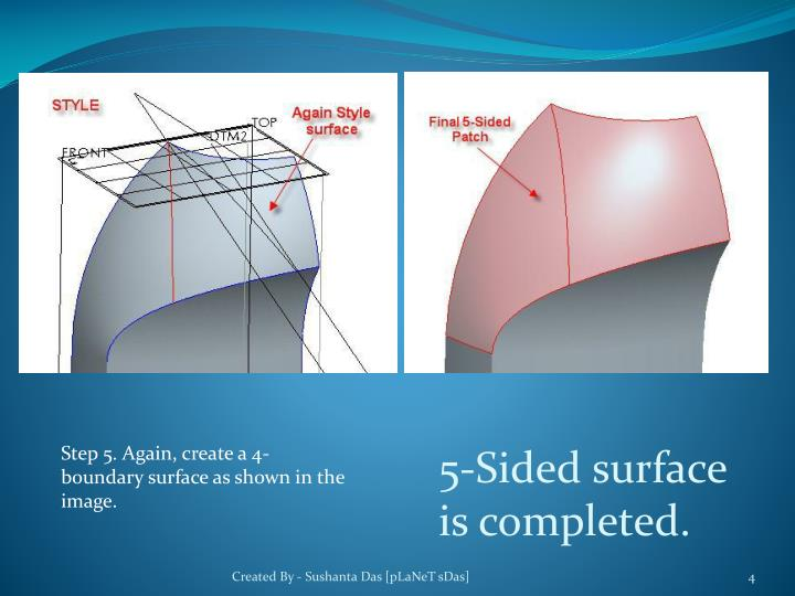 Step 5. Again, create a 4-boundary surface as shown in the image.