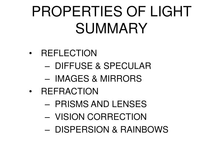 PROPERTIES OF LIGHT SUMMARY