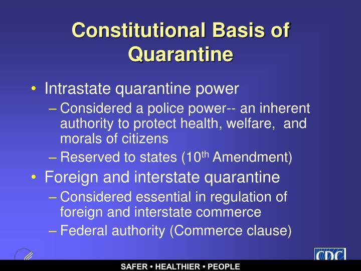 Constitutional Basis of Quarantine