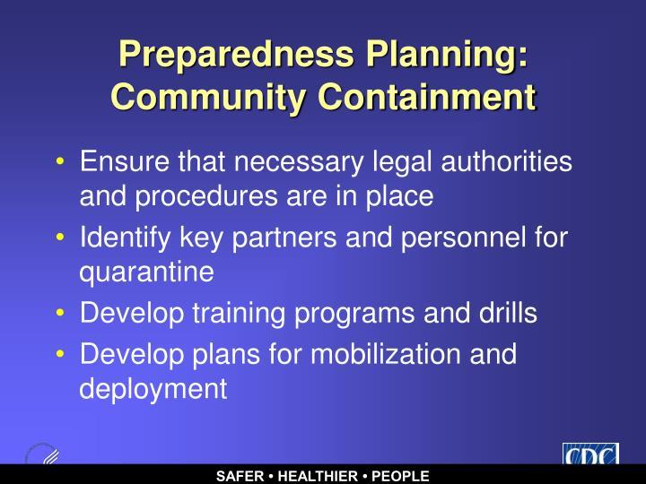 Preparedness Planning: Community Containment