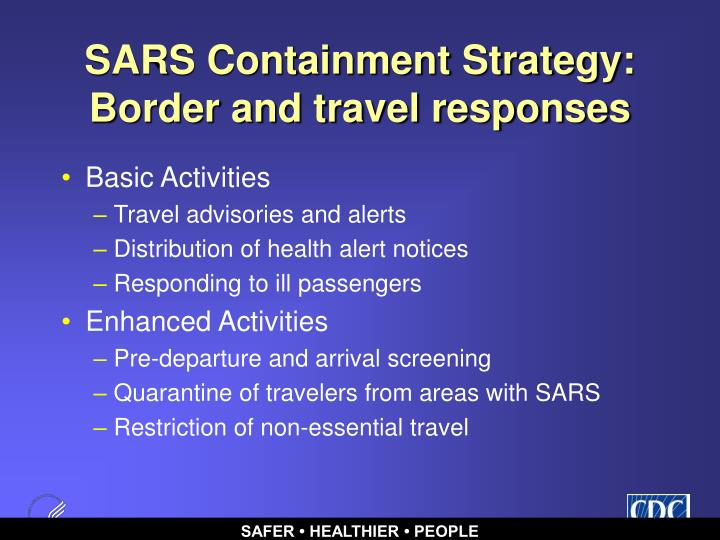 SARS Containment Strategy: Border and travel responses