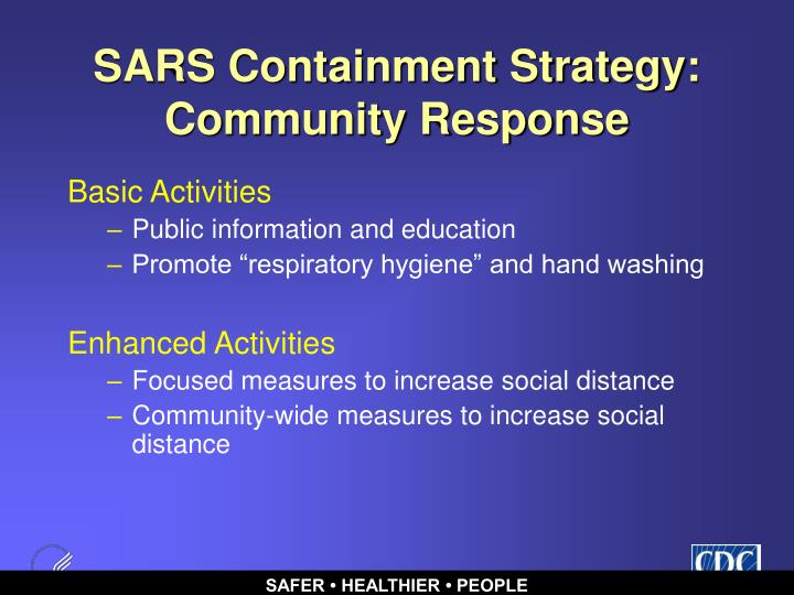 SARS Containment Strategy:  Community Response
