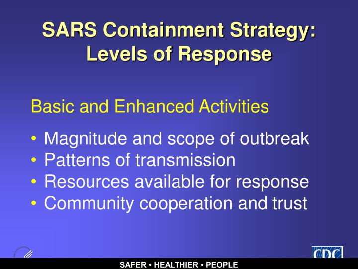 SARS Containment Strategy: Levels of Response