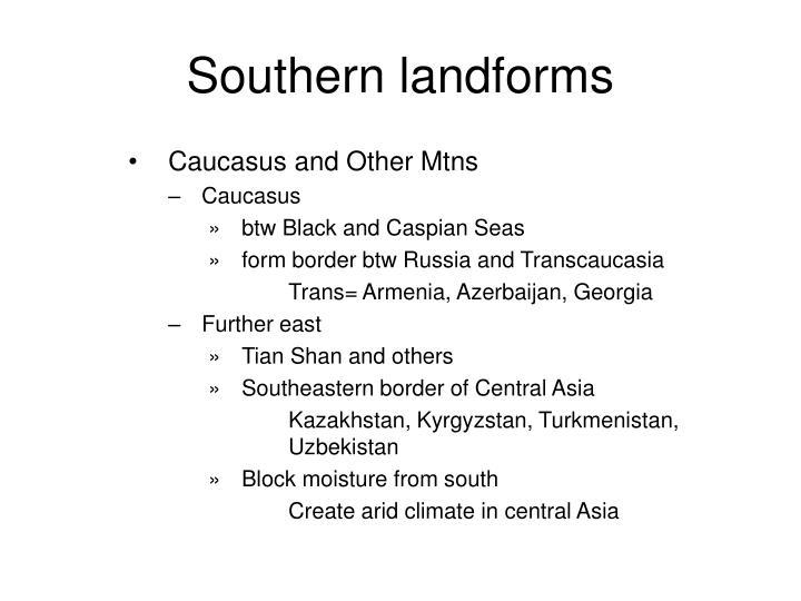 Southern landforms