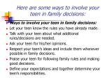 here are some ways to involve your teen in family decisions