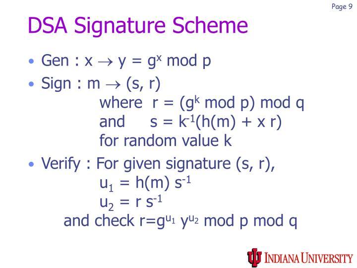 DSA Signature Scheme