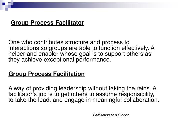 One who contributes structure and process to interactions so groups are able to function effectively. A helper and enabler whose goal is to support others as they achieve exceptional performance.